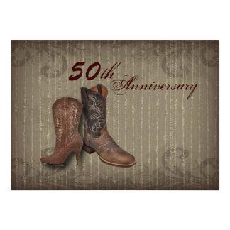 aniversario del país 50 o de las botas de vaquero invitación