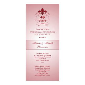 Aniversario del rubí de la flor de lis invitación 10,1 x 23,5 cm