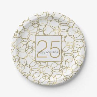 Aniversario elegante atractivo de los círculos del plato de papel