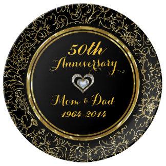 Aniversario elegante del damasco 50.o del negro y plato de porcelana