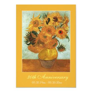 Aniversario famoso de los girasoles de la bella invitación 11,4 x 15,8 cm