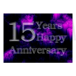 Aniversario feliz 15 años (aniversario de boda) tarjeta de felicitación