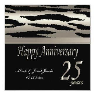 Aniversario feliz 25 años en la cebra de plata y invitación 13,3 cm x 13,3cm