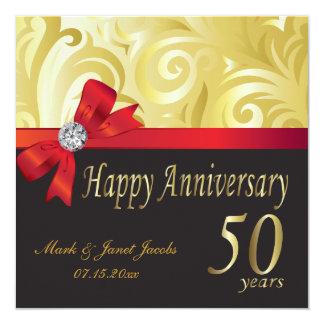 Aniversario feliz 50 años invitación 13,3 cm x 13,3cm