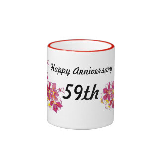 Aniversario feliz 59.o taza de dos colores