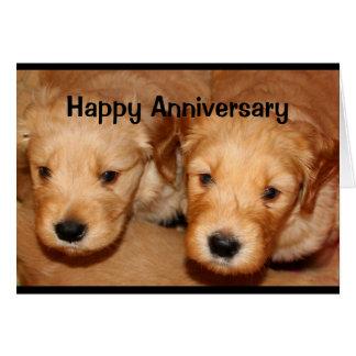 Aniversario feliz a los pares lindos Perro-Idos A Tarjeta De Felicitación