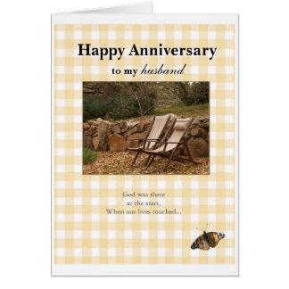 Aniversario feliz, a mi, husban tarjeta de felicitación