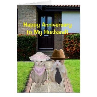 ¡Aniversario feliz al marido! Tarjeta De Felicitación