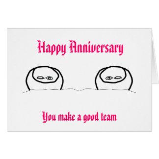 Aniversario feliz - buen equipo tarjeta de felicitación