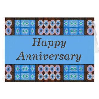 Aniversario feliz de Brown de la turquesa Tarjeta Pequeña