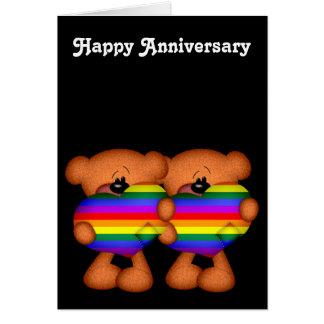 Aniversario feliz de los osos de peluche del tarjeta de felicitación