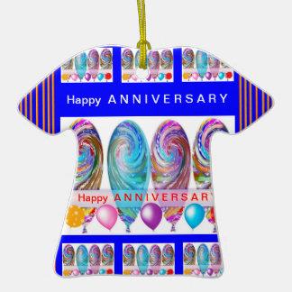 ANIVERSARIO feliz: El texto Editable dejó el Adorno De Cerámica En Forma De Camiseta