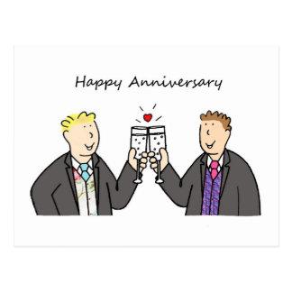 Aniversario feliz enrrollado para dos varones gay postal