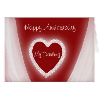 Aniversario feliz mi corazón rojo romántico tarjeta de felicitación