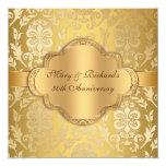Aniversario floral del oro 50.o del remolino del invitación 13,3 cm x 13,3cm