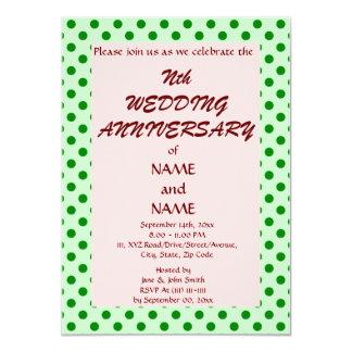 Aniversario-GreenPolkaDots del boda, Invitacion Personal