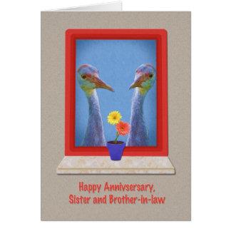 Aniversario, hermana y cuñado, pájaros tarjeta de felicitación