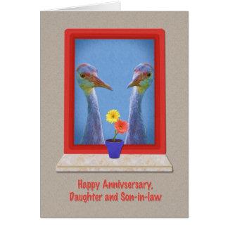 Aniversario, hija y yerno, pájaros de la grúa tarjeta de felicitación