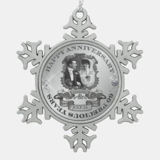Aniversario ID195 del vintage 60.o Adorno De Peltre En Forma De Copo De Nieve