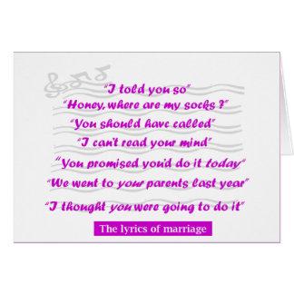 Aniversario - las letras de la boda tarjeta de felicitación
