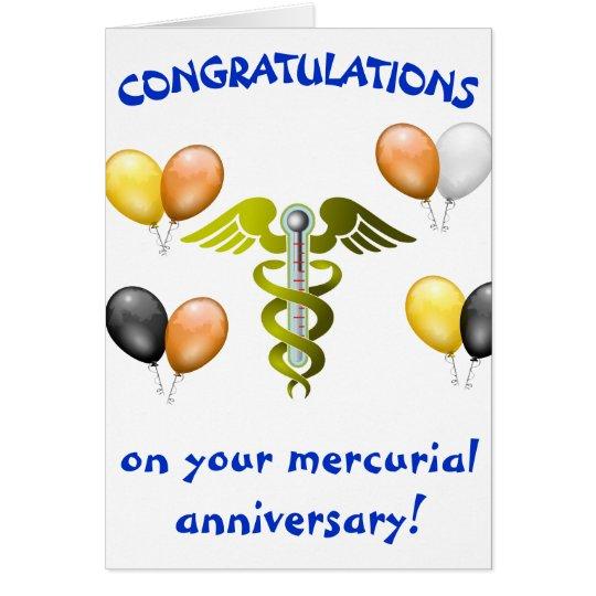 Aniversario mercurial tarjeta de felicitación