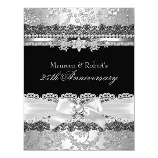 Aniversario negro del arco de la perla del cordón invitación 10,8 x 13,9 cm