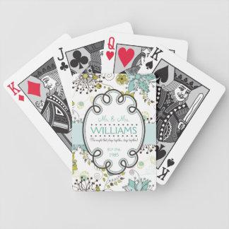 Aniversario o boda floral moderno personalizado baraja de cartas bicycle