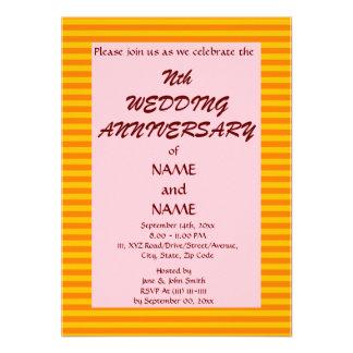 Aniversario-OrangeStripes del boda PinkBackground