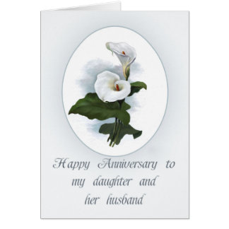 Aniversario para la hija, calas elegantes tarjeta de felicitación