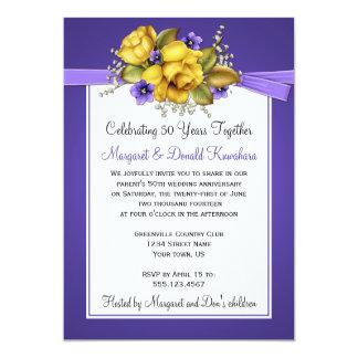 Aniversario púrpura de las violetas 50.as de los invitación 12,7 x 17,8 cm