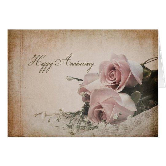 Aniversario - rosas del vintage tarjeta de felicitación