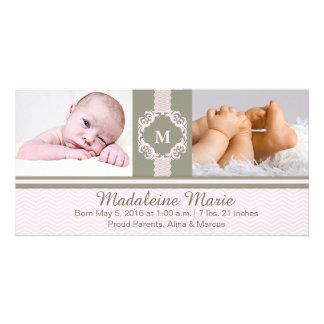Announcemen rosados del nacimiento de la niña del tarjetas fotograficas personalizadas
