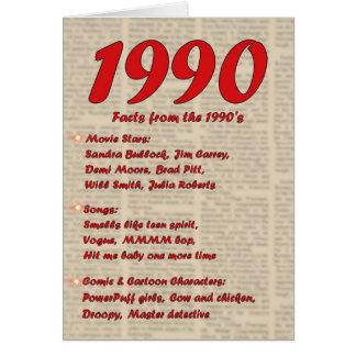 Año 1990 del feliz cumpleaños de los años 90 90s tarjeta de felicitación