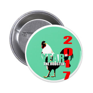 Año 2017 del gallo en botón verde del círculo R