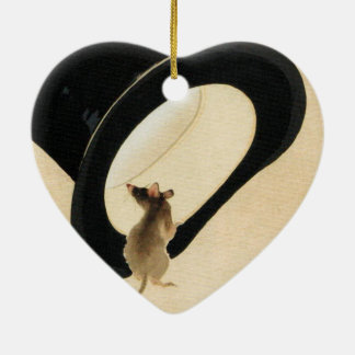 Año 2020 de la rata nacido en cumpleaños del año adorno navideño de cerámica en forma de corazón