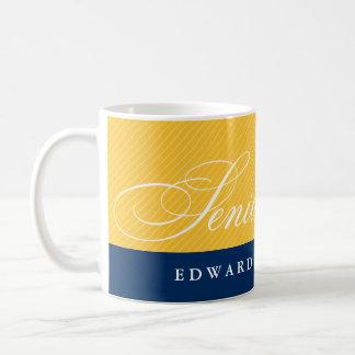Año amarillo azul de la clase de las rayas de los taza de café