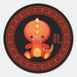 Año chino adornado de los pegatinas del dragón pegatinas redondas