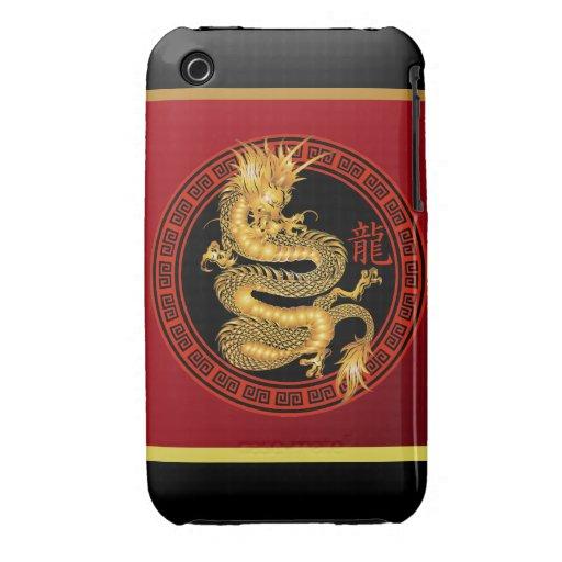 Año chino adornado del dragón 2012 iPhone 3 carcasa