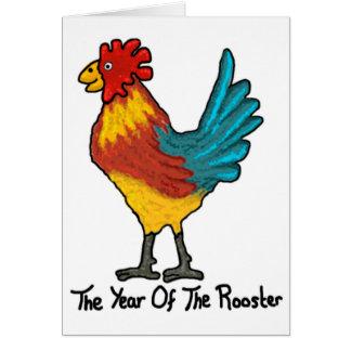 Año chino de la tarjeta del gallo