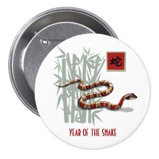 Año chino de los botones del regalo de la serpient chapa redonda de 7 cm