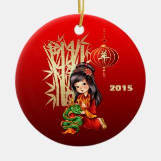 Año chino de los ornamentos de la cabra/del regalo adorno redondo de cerámica