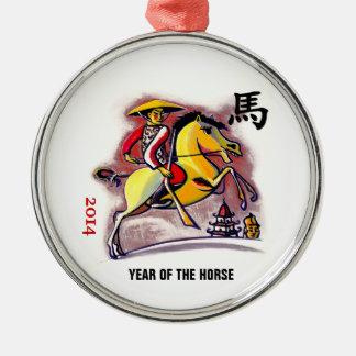 Año chino de los ornamentos del regalo del caballo adorno navideño redondo de metal