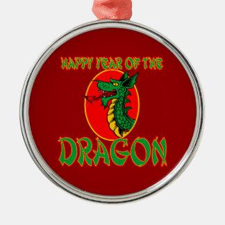 Año chino del dibujo animado del dragón adorno navideño redondo de metal
