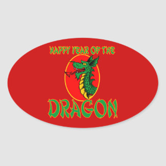 Año chino del dibujo animado del dragón pegatina ovalada