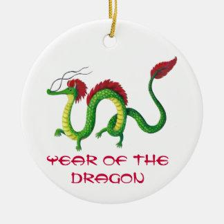 Año chino del dragón adorno navideño redondo de cerámica
