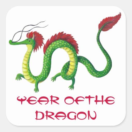 Año chino del dragón calcomanía cuadrada personalizada