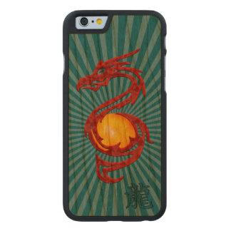 Año chino del rojo metálico del dragón funda de iPhone 6 carved® de cerezo