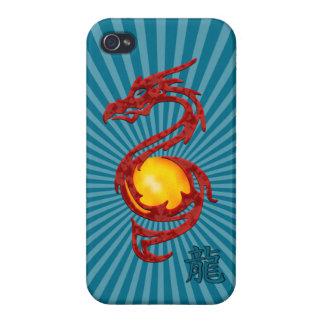Año chino del rojo metálico del dragón iPhone 4 carcasa