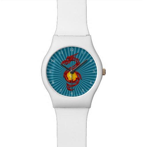 Año chino del rojo metálico del dragón reloj de mano