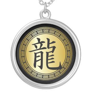 Año chino del símbolo del dragón BGB Collar Plateado